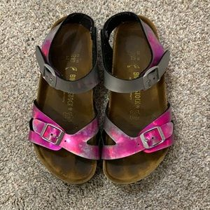 Birkenstock pink and silver sandals size 33
